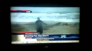 Hurricane Sandy Gangnam Style News Reporter Photo Bomb - Norfolk VA WAVY