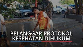 Sejumlah Remaja Terjaring Razia Masker di GOR H Agus Salim Padang, Dihukum Menyapu Trotoar