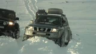 Biggest street legal Ford 350 in Europe 54 inch tires in snow action - Iceland
