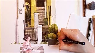 "Watercolor Illustration ""Sunny Backyard"" for Escoda timelapse work in progress painting by Iraville"