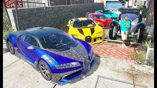 GTA 5 -Stealing Luxury Bugatti Cars💥with Franklin! (Real Life Cars #10)