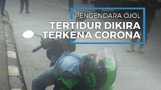 Pengendara Ojol Tergeletak di Motor Dikira Kena Corona Ternyata Tertidur, Petugas Takut Mendekat
