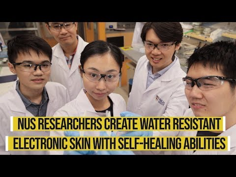 Water resistant and self-healing electronic skin