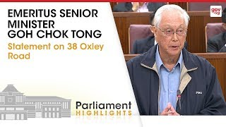 ESM Goh Chok Tong's Statement On 38 Oxley Road