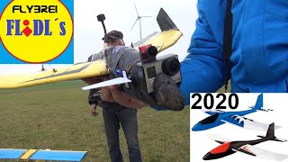 Lidl Segelflieger FPV - Newflidl mit Gopro und Canard verfolgt Doppeldecker - Lidl XL Glider