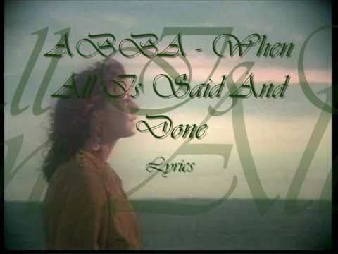 ABBA - When All Is Said And Done Lyrics