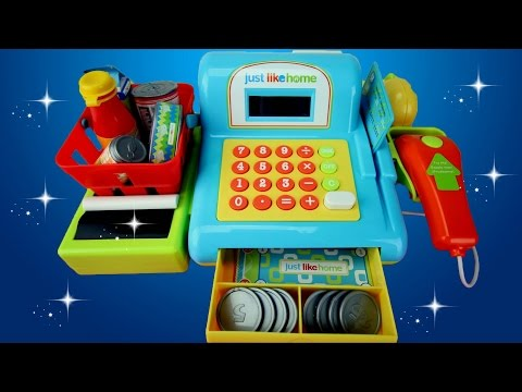 Just Like Home Toy Set : Just like home toy cash register with real scanner working calculator