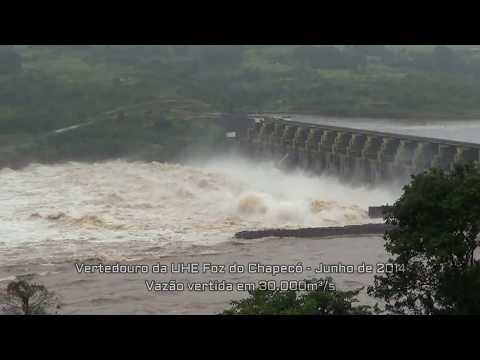 Enchente Junho de 2014 UHE Foz do Chapecó vertendo 30.000m³/s