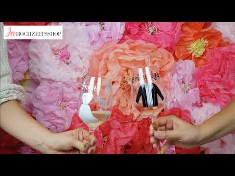 Ja-Hochzeitsshop - Weinglas Set Braut & Bräutigam