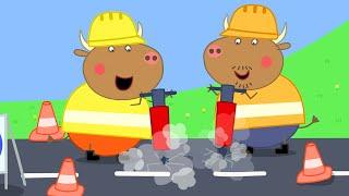 Peppa Pig Full Episodes   Mr Bull's New Road   Cartoons for Children