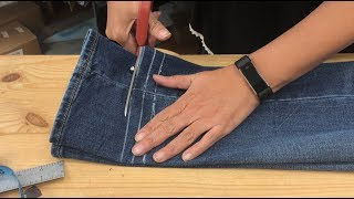 Jeans Hem And Waist Take-in (full Process By A Professional)
