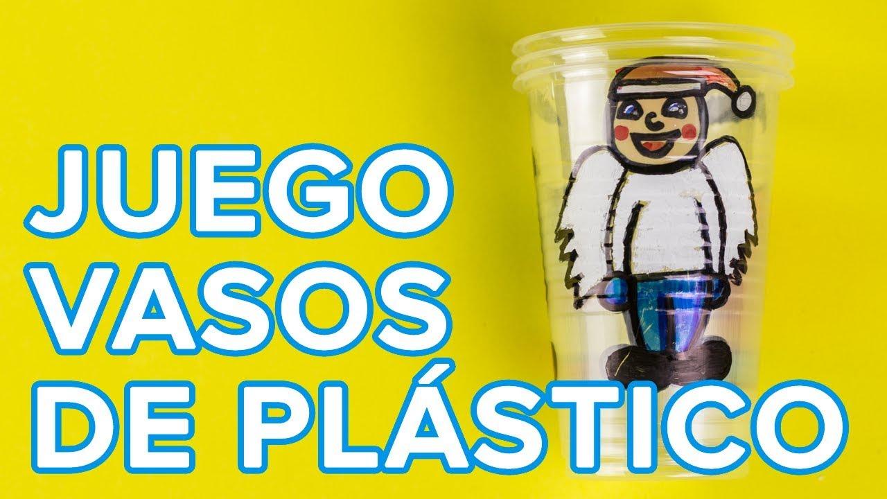Juego con vasos de plástico para Navidad | Manualidades infantiles con material reciclado