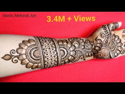 full hand mehndi design shaded semi bridal by shefu mehndi art