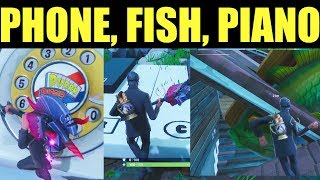 """Visit An Oversized Phone, Big Piano, & Giant Dancing Fish Trophy"" - Fortnite- All 3 Locations"