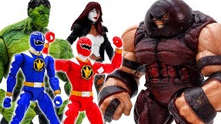 Power Rangers & Marvel Avengers Toys Pretend Play | Hulk vs Juggernaut