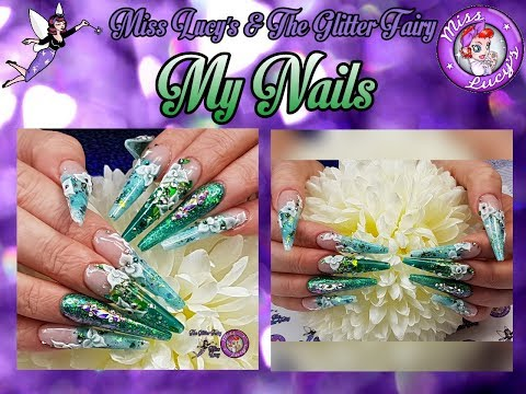 1 of 3 - My Nails - Non Dominant Hand - Extreme Length - Acrylic - Sculpted