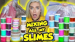 MIXING ALL MY SLIMES!! GIANT SLIME SMOOTHIE! SATISFYING SLIME | NICOLE SKYES