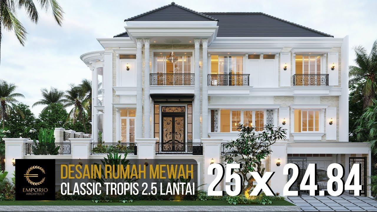 Video 3D Desain Rumah Classic 2.5 Lantai Ibu Claudia di Tangerang, Banten