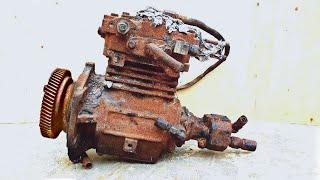 Restoration air compressor on burnt truck | Restore reuse rusty old compressor of American truck