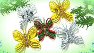 Новогодние игрушки бабочки из глиттерного фоамирана / Diy Christmas Ornaments
