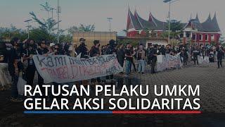 UPDATE Aksi Massa Soal PPKM di Padang, Ada Spanduk Kami Ingin Berjualan tanpa Dirazia Setiap Hari