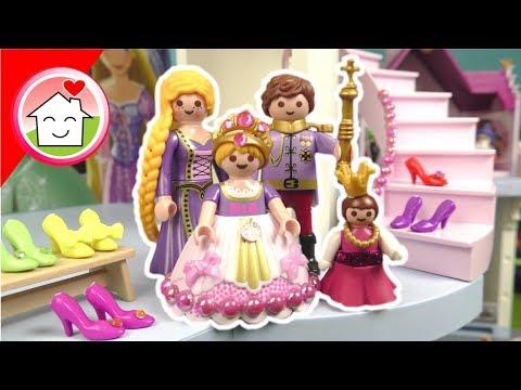 Playmobil Rapunzel Cinderella Arielle - Familie Hauser im Prinzessinnen Schloss - Video für Kinder