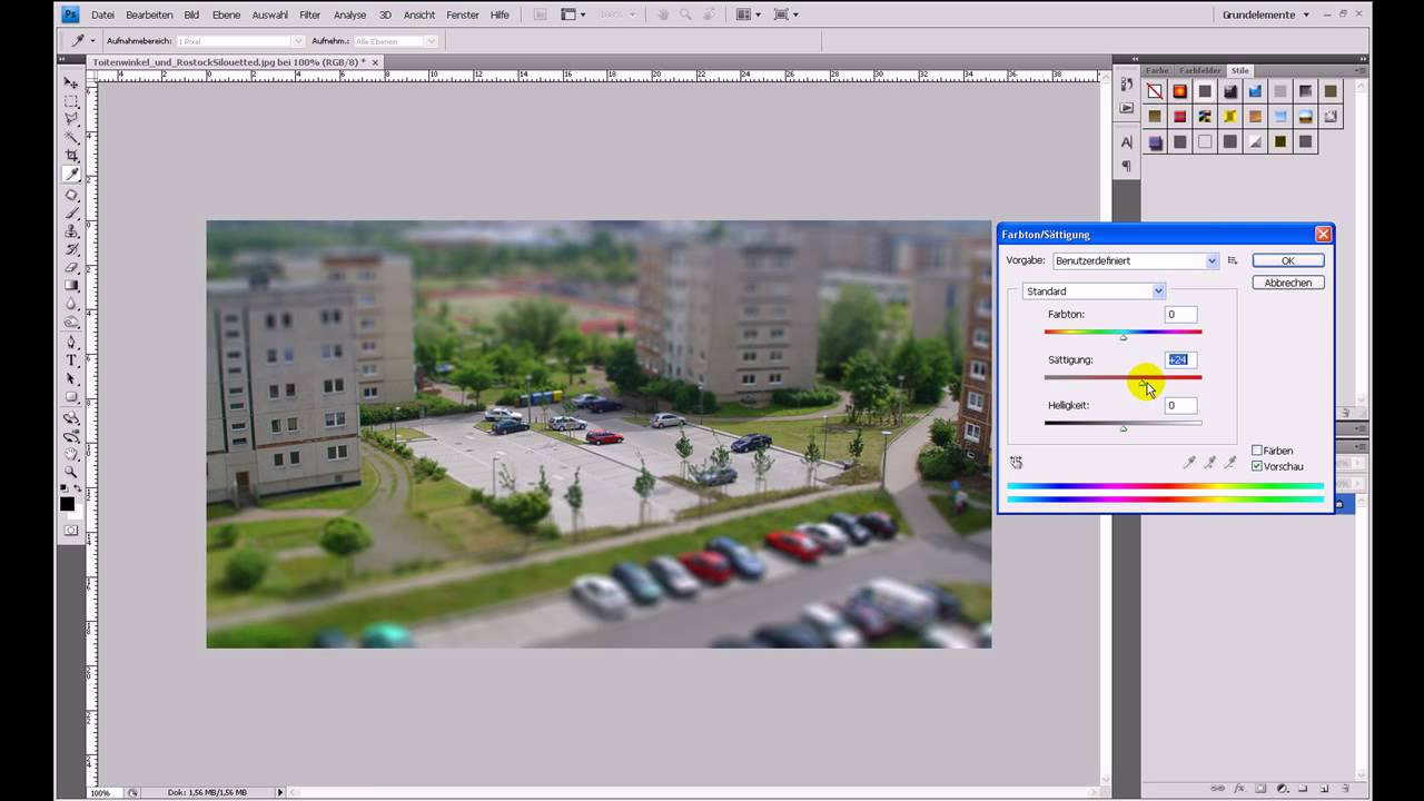 Miniatur-/Modellbaulandschaft erstellen (Tilt-Shift) – Photoshop-Tutorial