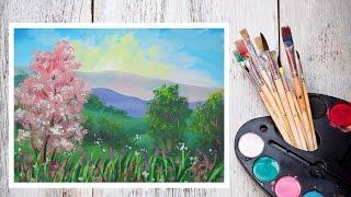 Видео урок Рисуем Гуашью Цветущий пейзаж! #Dari Art