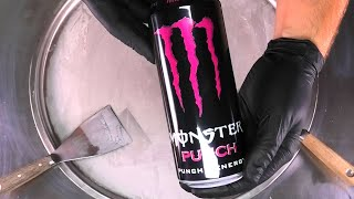Monster Energy Pink Punch - Ice Cream Rolls | most satisfying Energy Drink rolled Ice Cream | ASMR