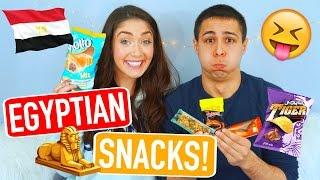 American Boyfriend & Girlfriend Taste Test Egyptian Snacks! | Trending With Tori