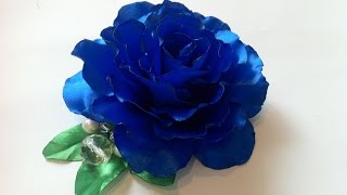 Брошь Синяя роза из атласных лент в технике цумами канзаши своими руками. Brooch Blue rose