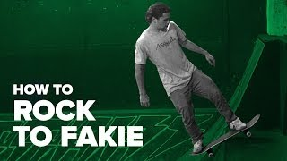 Смотреть онлайн Учимся делать  Rock to Fakie в рампе на скейтборде