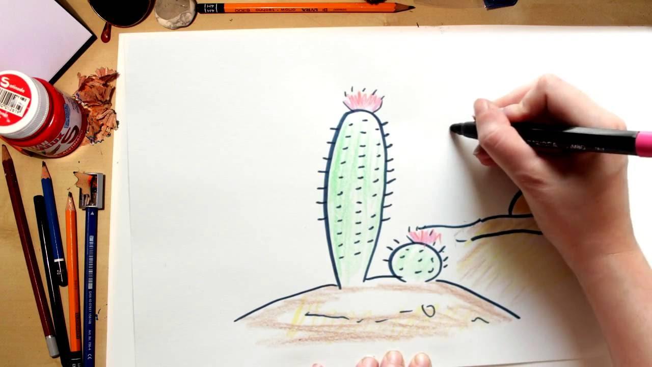 Como dibujar un Cactus con Flores - dibujos para niños