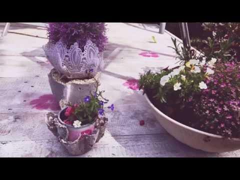 Beton-Übertöpfe im Shabby Chic Style - Was man aus Omas Spitze alles machen kann