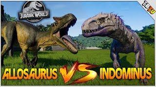 SECOND STRONGEST DINO? ALLOSAURUS VS INDOMINUS REX! Jurassic World Evolution DLC Dinosaur Fight