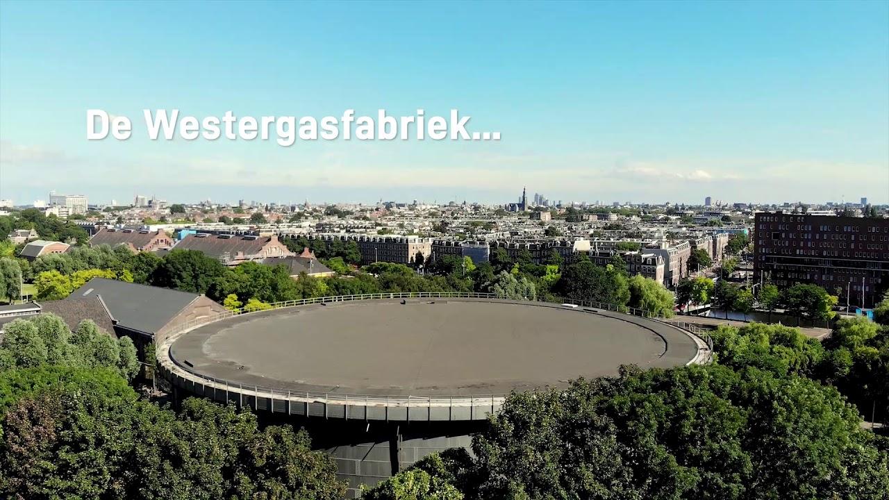 Dak Amsterdamse Gashouder omgebouwd tot zonnepark
