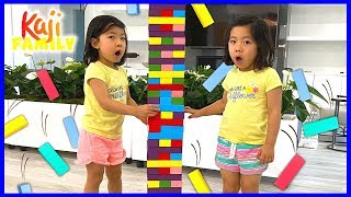 Emma And Kate Pretend Play With Giant Jenga Color Blocks Toys!!!