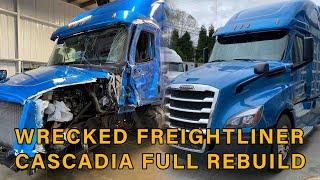 Salvage Freightliner Cascadia Rebuild Totalled Copart Semi-truck Full timelapse
