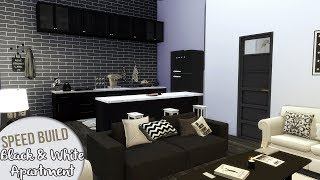 BLACK & WHITE APARTMENT + CC Links | The Sims 4 Speed Build