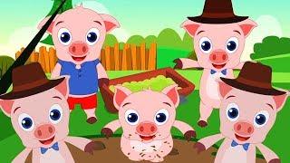 5 поросят прыгали в кроватке | песня для детей | детские стишки | 5 Little Piggies | Kids Tv Russia