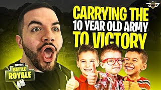 CARRYING THE 10 YEAR OLD ARMY TO VICTORY! - 21 Eliminations! (Fortnite: Battle Royale)