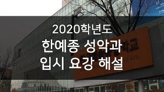 2020년도 한예종 입시요강 해설