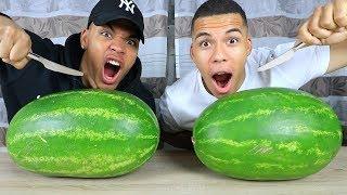 XXL WASSERMELONEN CHALLENGE + HEFTIGE STRAFE !!!   Kelvin Und Marvin