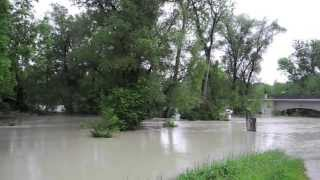 preview picture of video 'Hochwasser an der Isar bei Freising - 2013 - HD'