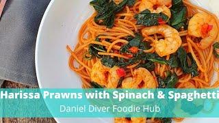 Harissa Prawns with Spinach & Spaghetti