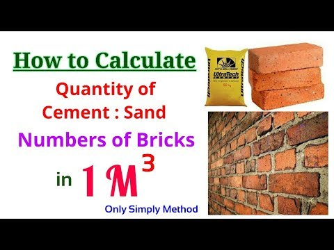 How many bricks in 1 cubic meter and Quantity of Cement, Sand mortar