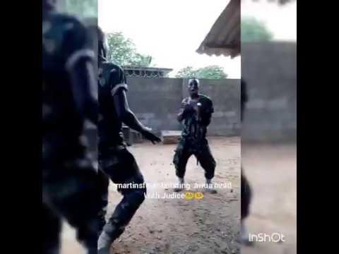 Nigerian soldiers dancing