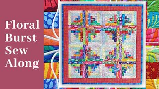 Floral Burst Quilt, Machine Embroidery Design Quilt Sew Along. Sweet Pea