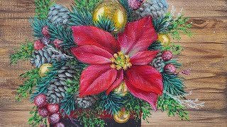 Poinsettia & Pinecones Christmas Bouquet Acrylic Painting LIVE Tutorial