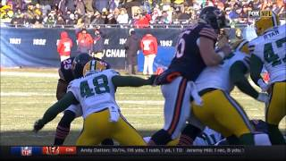 Joe Thomas knocks helmet decal off Ka'Deem Carey - Green Bay Packers vs. Chicago Bears Week 15